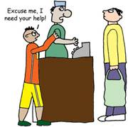 cartoon of boy saying to shopkeeper, Excuse me, I need help!
